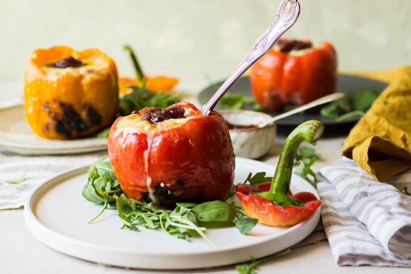 couscous in cheese sauce stuffed peppers