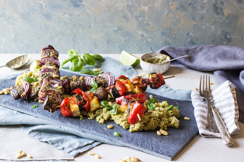 rump steak and veg Barbecue skewers with Very lazy dressing