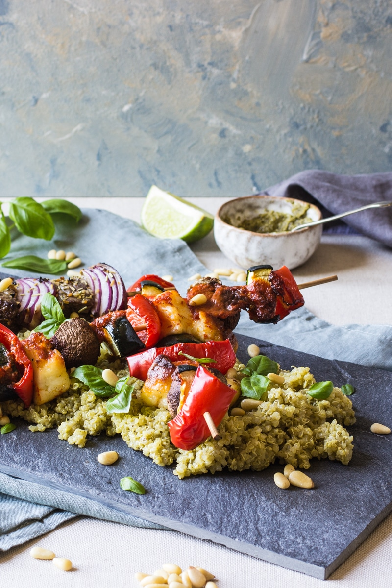 veg and halloumi Barbecue skewers with Very lazy dressing