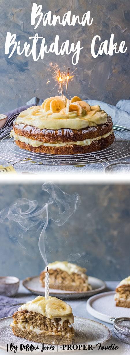 Banana Birthday Cake with mascarpone cream and banana topping