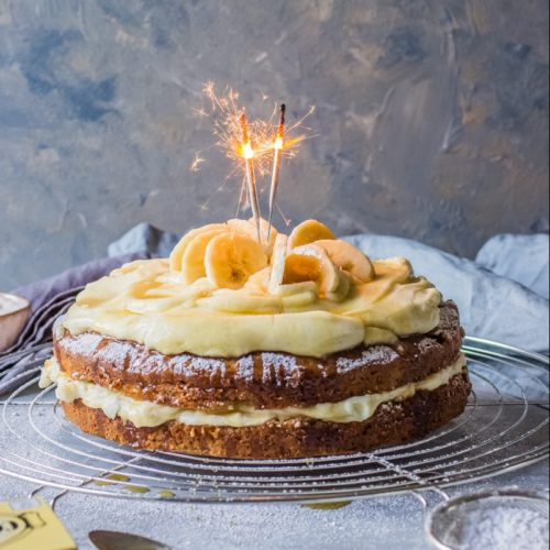 Brilliant Banana Birthday Cake Recipe Video Step By Step Guide Properfoodie Funny Birthday Cards Online Fluifree Goldxyz