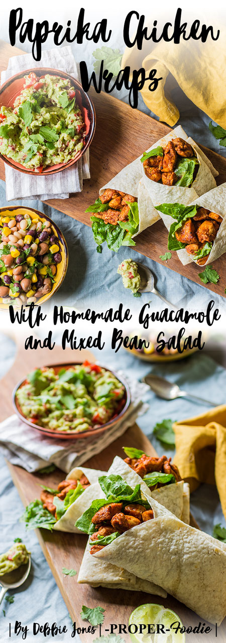paprika chicken wraps with homemade guacamole and mixed bean salad