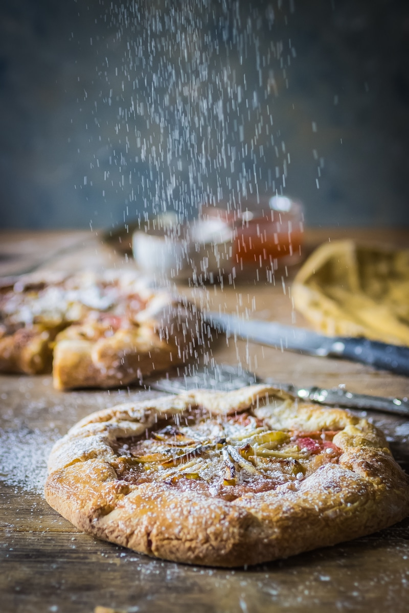 rhubarb galette dusted with icing sugar