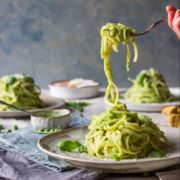 summer spaghetti with peas and parmesan