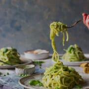 Summer pea pesto pasta
