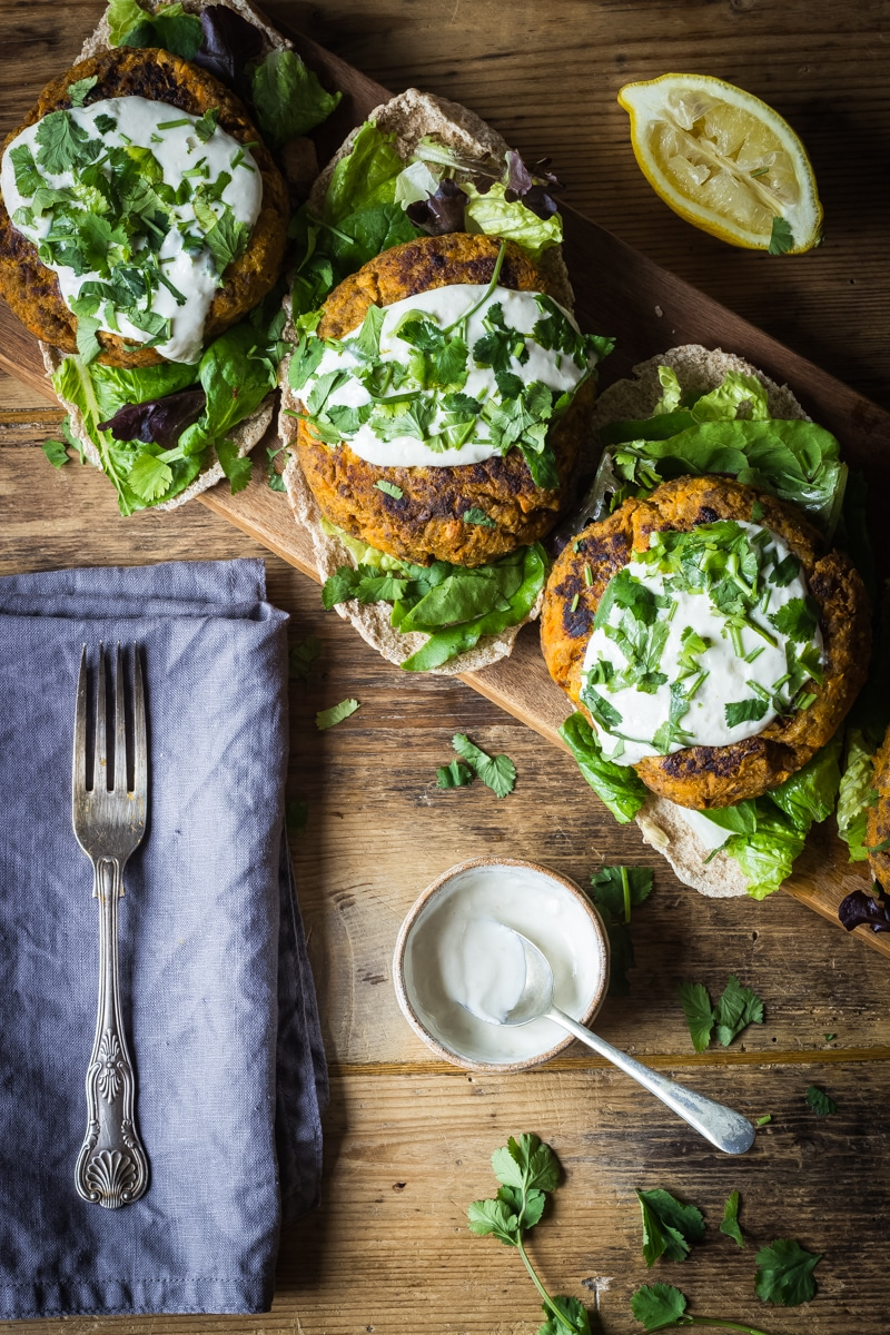 moroccan style sweet potato beef burgers with garlic tahini sauce