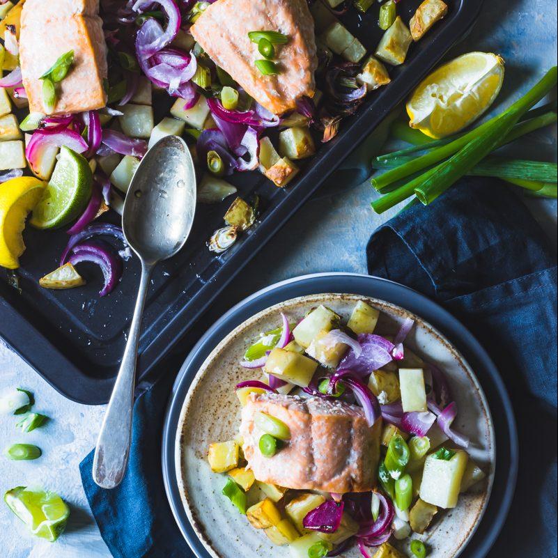 Frozen Salmon and potato traybake feed four for a fiver
