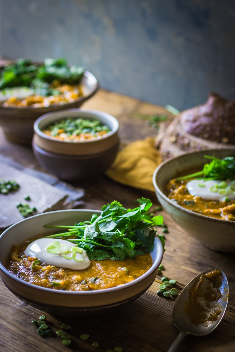 yellow split pea and spicy chicken soup