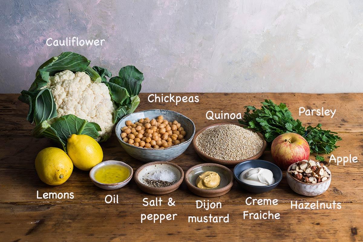 Ingredients for making roasted cauliflower salad.