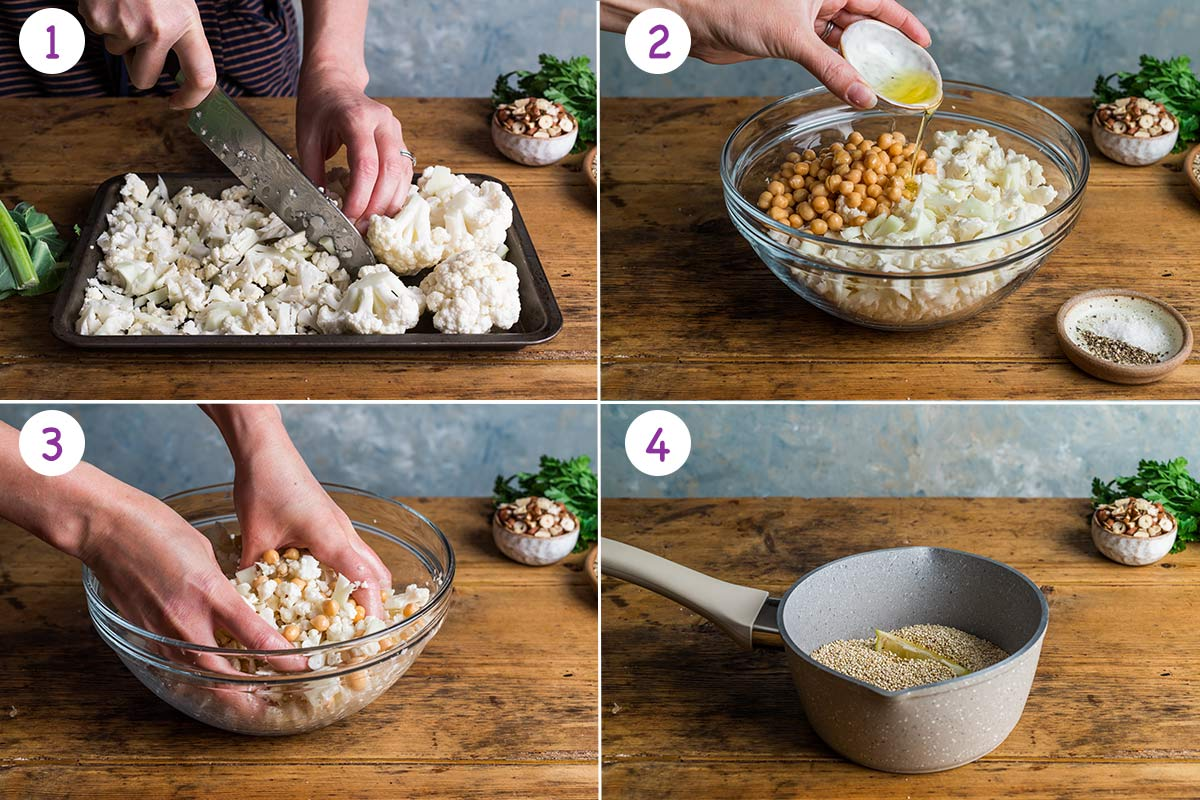 Collage of 4 images showing step by step how to make this this recipe for steps 1-4.