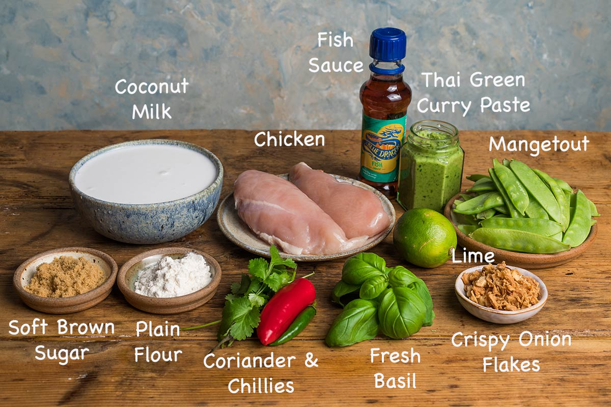 Ingredients needed to make Thai green curry.
