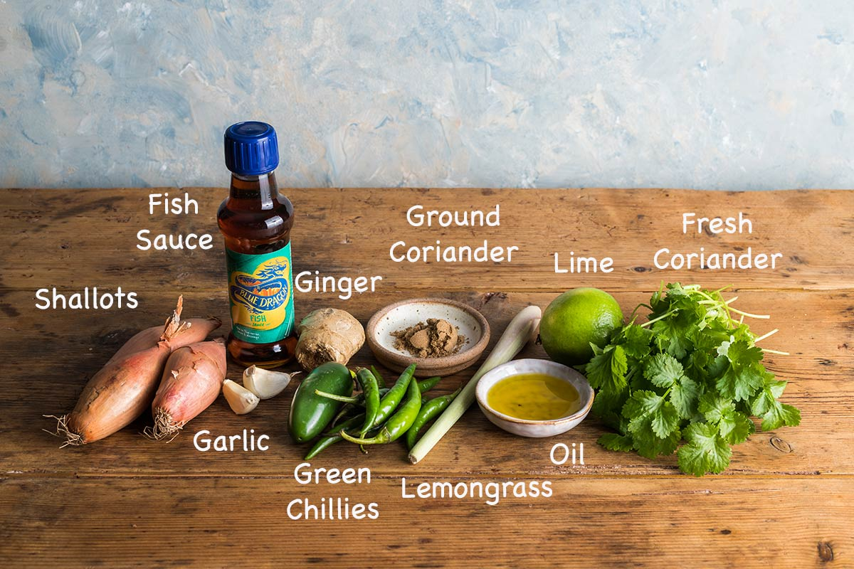 Ingredients needed to make Thai green curry paste.