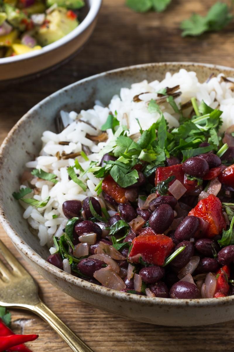 black bean rice and coriander
