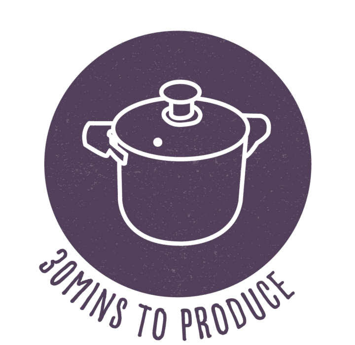 30 minutes to produce recipe