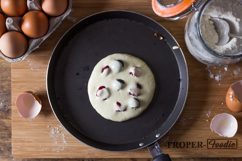 dot fruit with pancake batter for a better cook once flipped