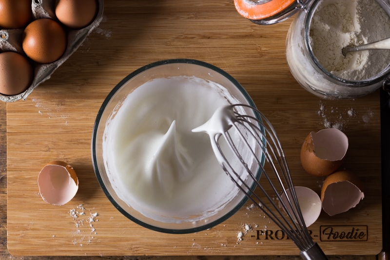 egg whites whisked into soft white peaks