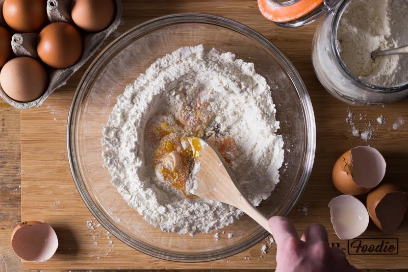 making pancake batter