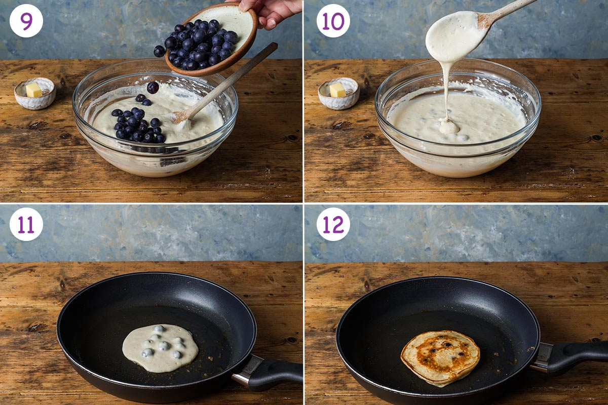 A collage of 4 images showing how to make the pancakes step by step for instructions 9-12.