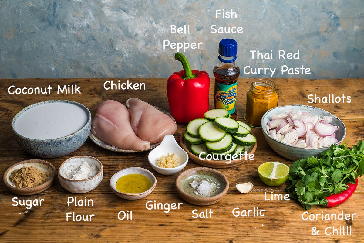 Ingredients needed to make Thai red curry.