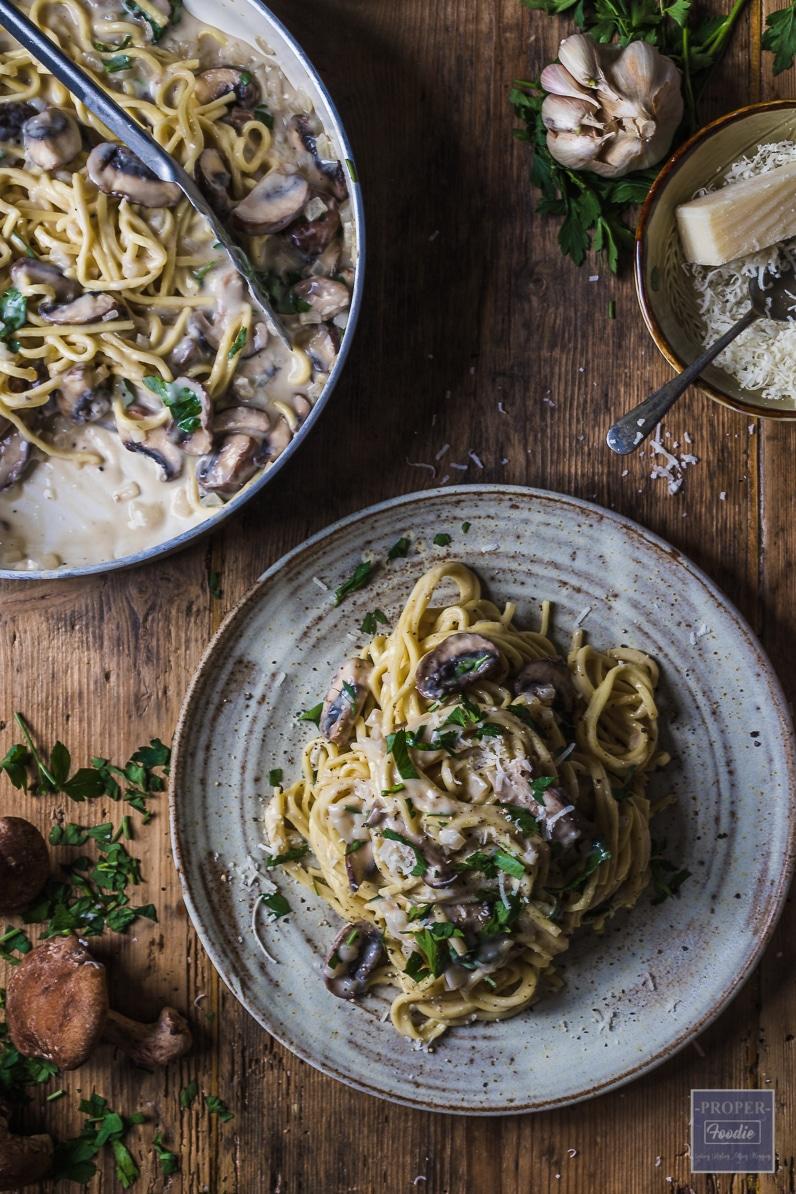 mushroom pasta in white wine cream sauce