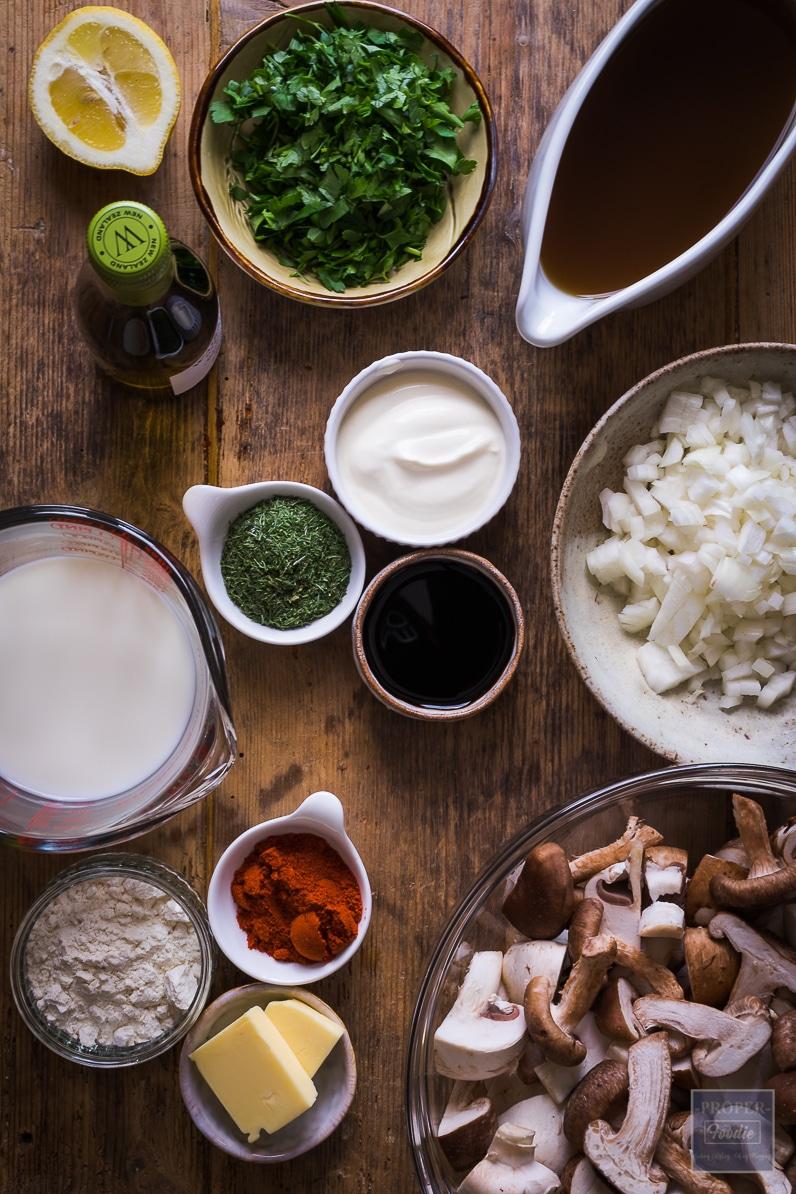 Ingredients for hungarian mushroom soup