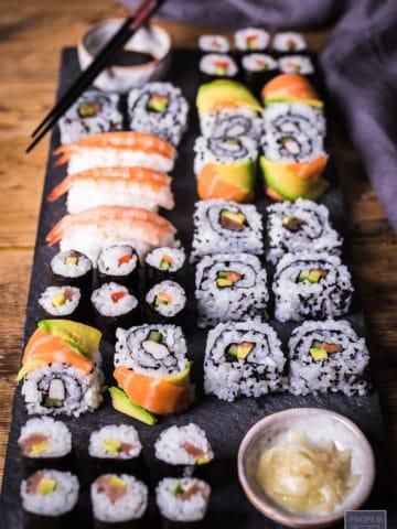 Japanese sushi rolls platter