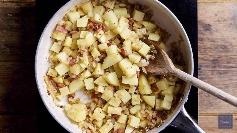 add butter onions and potatoes