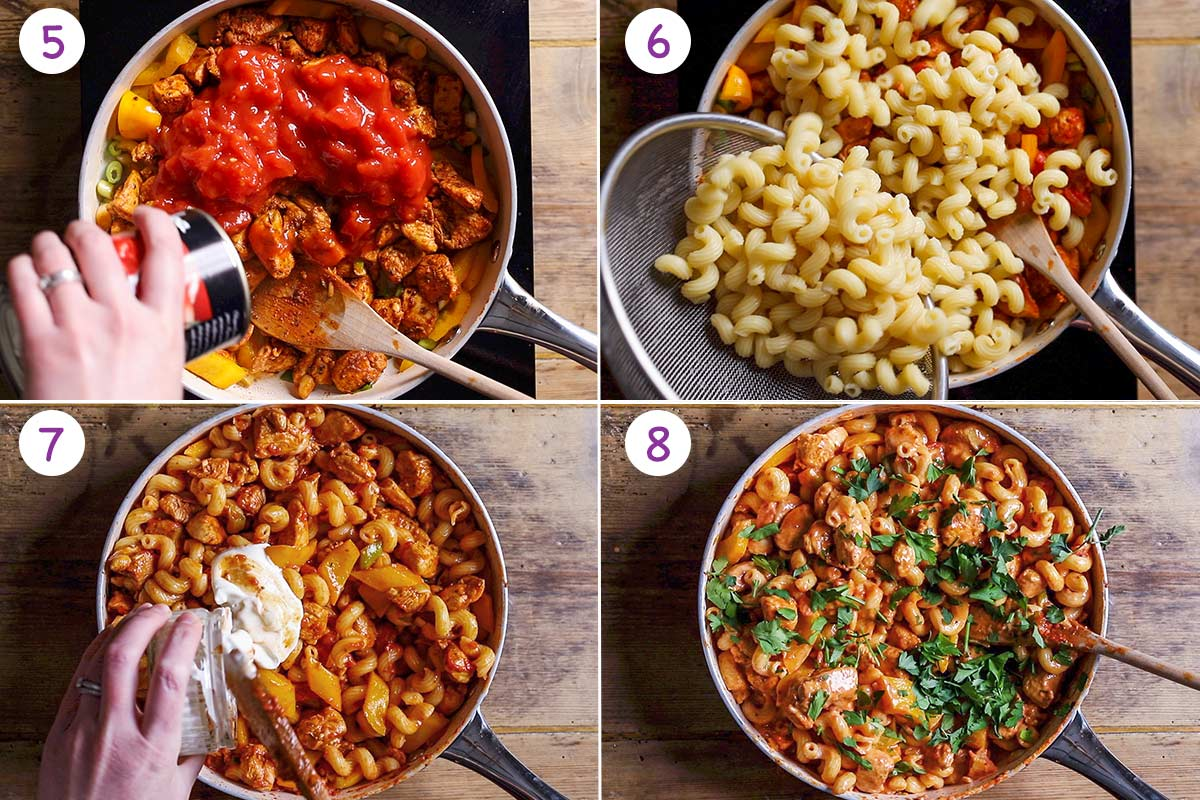 Four images showing how to make cajun chicken pasta for steps 5-8.