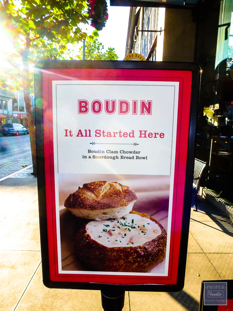 Boudin Clam Chowder in sourdough bread bowl