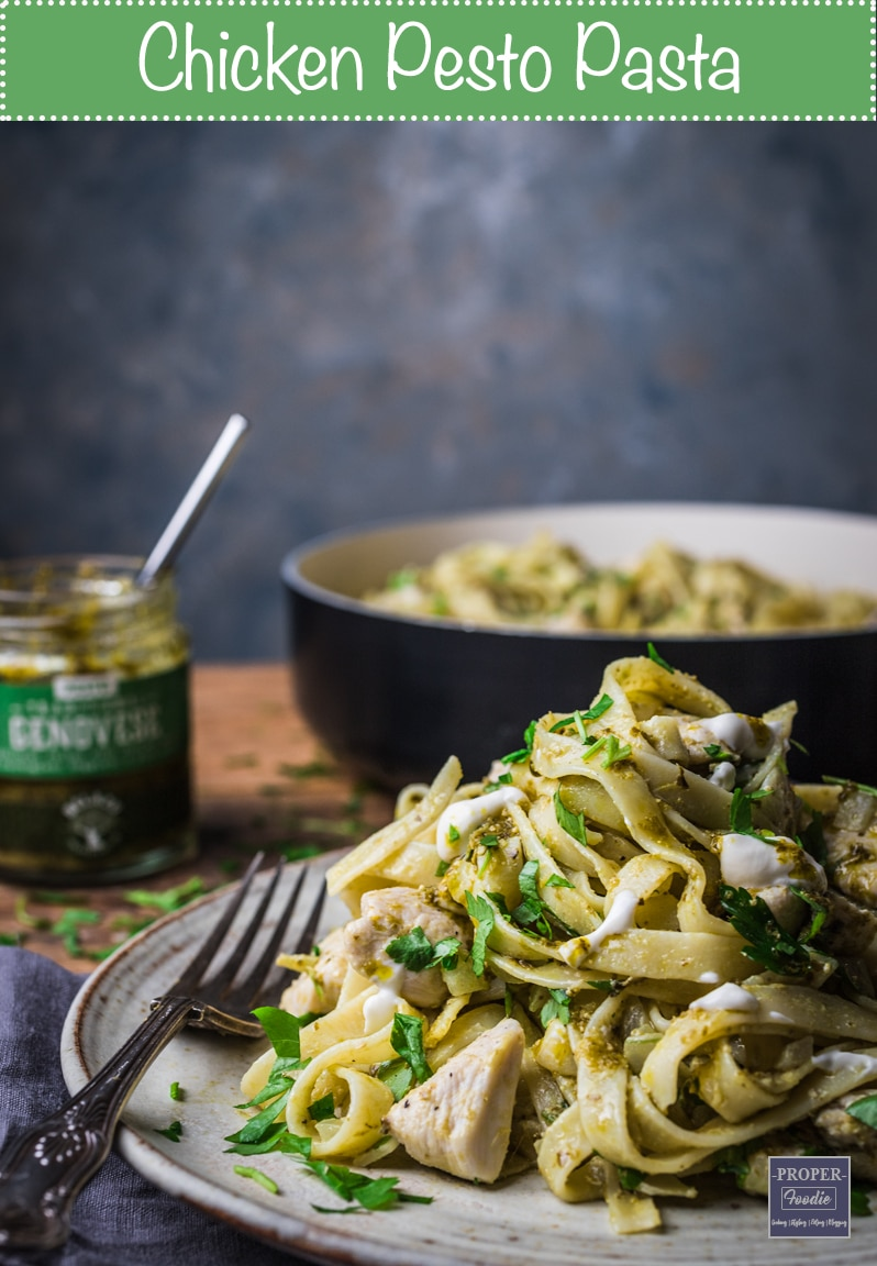 Chicken pesto pasta made with Genovese pesto