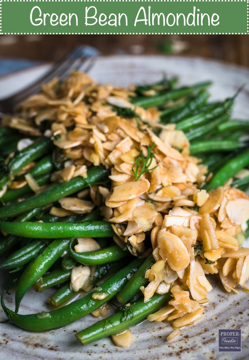 Crisp green bean almondine, a simple side dish, which is made extra special by the addition of buttery, pan fried almonds and a sprinkling of dill. If there was ever a reason to start eating your greens – this surely must be it!