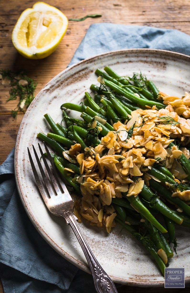 Green bean almondine with buttery almonds