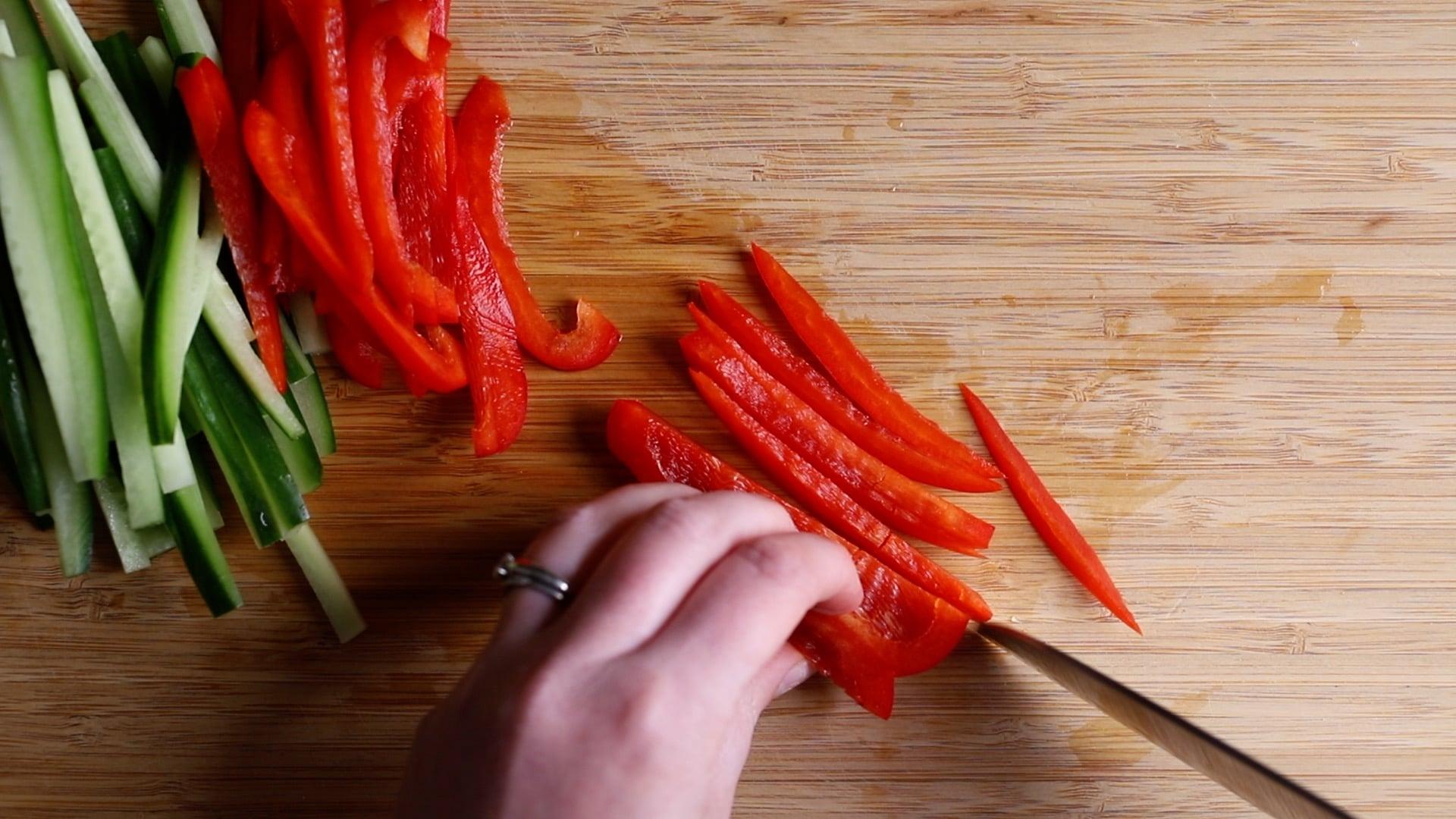 Slice vegetables into thin julienne sticks