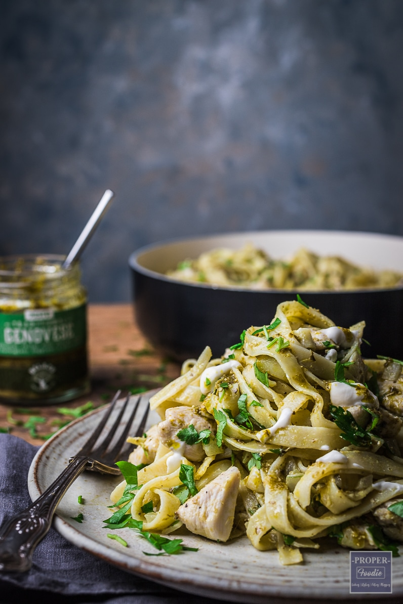 chicken pesto with tagliatelle