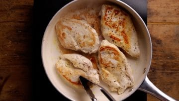 pan fry chicken breast until golden on both sides