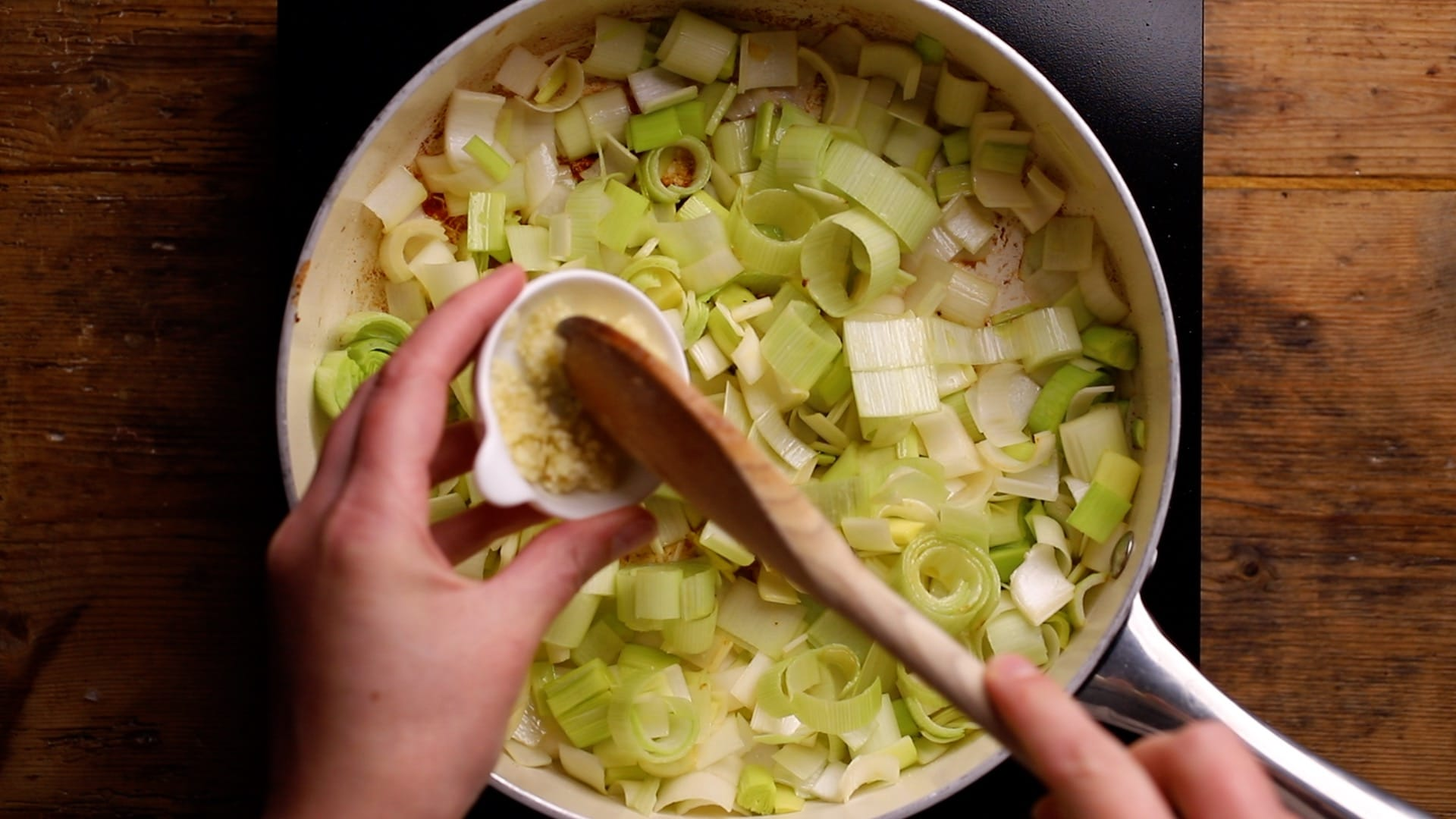 pan fry chopped leeks and garlic