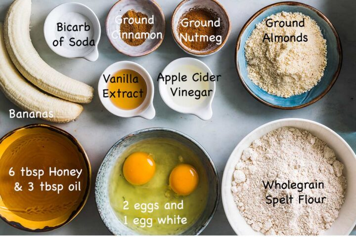 Ingredients needed to make Banana Bread.