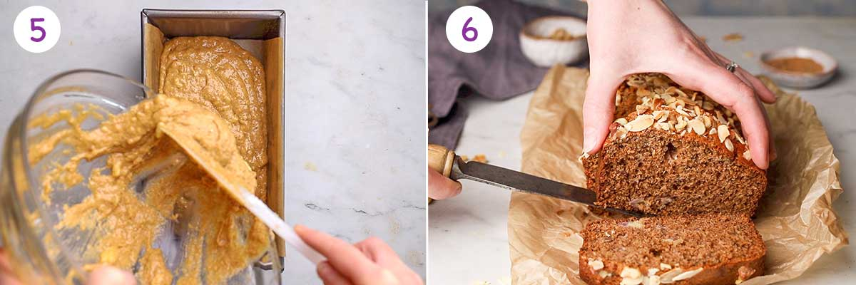 Collage of 2 images showing step by step how to make this this recipe for steps 5-6.