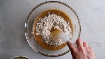 tip in the wholegrain flour and fold together gently