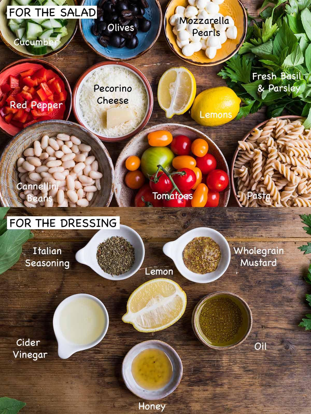 Italian pasta salad ingredients.