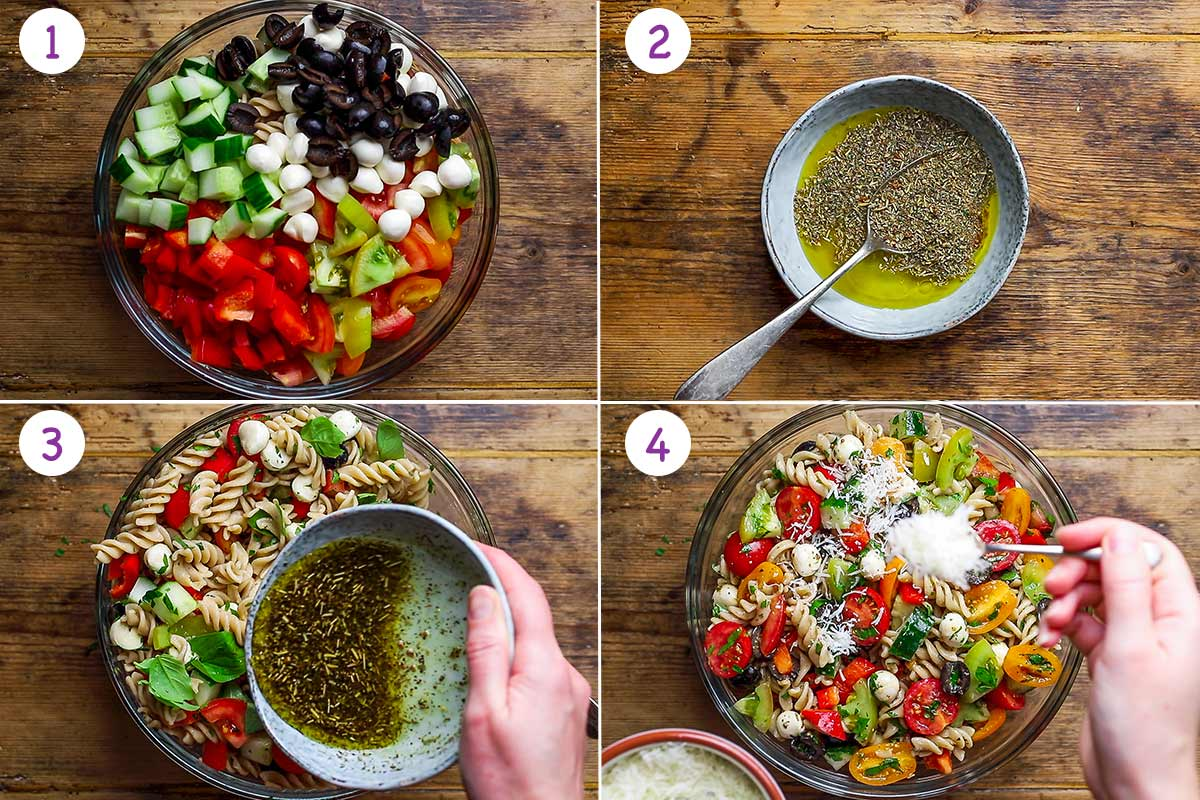 Step by step images of how to make Italian pasta salad.