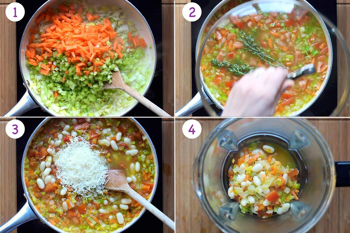 A collage of 4 images showing how to make White bean soup step by step for instructions 1-4.