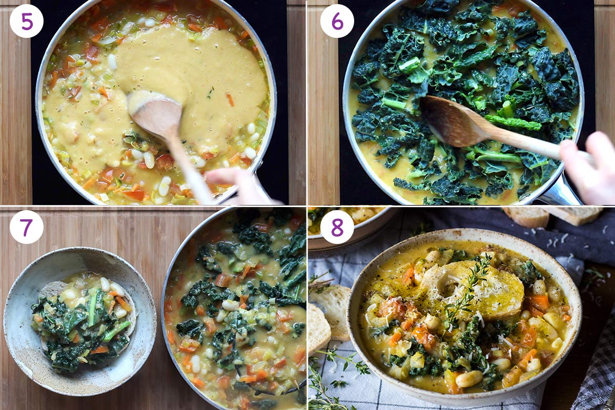 A collage of 4 images showing how to make white bean soup step by step for instructions 5-8.