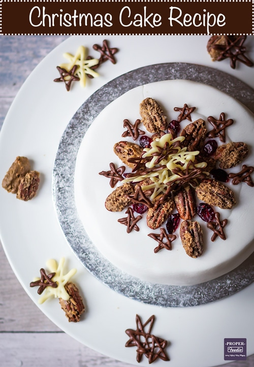 Christmas cake recipe with sugar pecans and chocolate stars