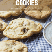 Easy and quick soft bake chocolate chip cookies, with a crumbly outer edge and dotted with melted chunks of Cadburys dairy milk chocolate