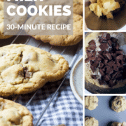 Easy and quick soft bake chocolate chip cookies, with a crumbly outer edge and dotted with melted chunks of chocolate
