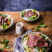 Vietnamese beef salad with rice noodles and Asian salad dressing