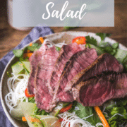 Vietnamese style noodle salad with sliced steak & lime dressing. Full of nutritious ingredients & satisfying flavours
