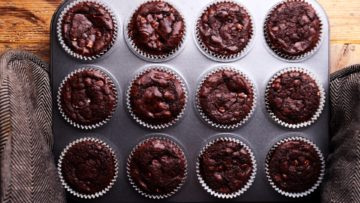 chocolate muffins fresh out of the oven