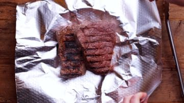 wrapping steaks in foil to rest